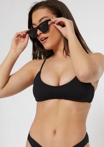 black smocked sporty bikini top - Main Image