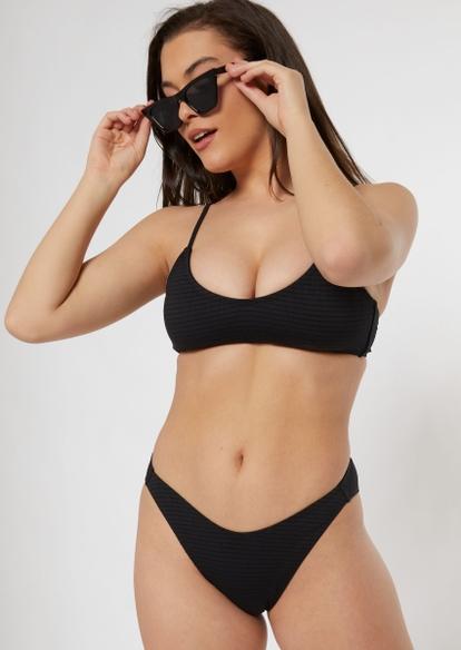 black smocked high leg bikini bottoms - Main Image