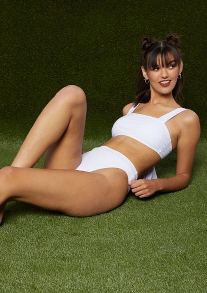 white high cut bikini bottoms - Main Image