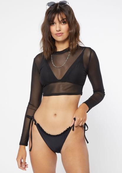 black ruffled tie side bikini bottoms - Main Image