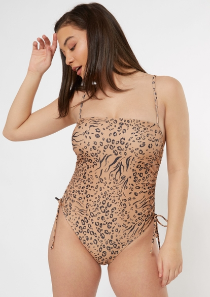 animal print ruched side swimsuit - Main Image