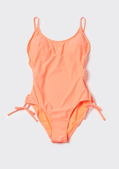 coral orange ruched side scoop neck swimsuit - Main Image
