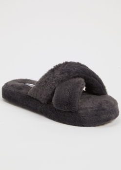charcoal gray faux fur x band slippers - Main Image