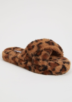 leopard print pink faux fur x band slippers - Main Image