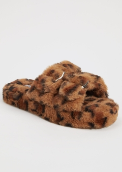 leopard print faux fur double buckle slippers - Main Image
