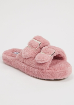 dusty pink faux fur double buckle slippers - Main Image