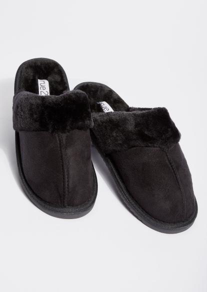 black faux fur slipper - Main Image