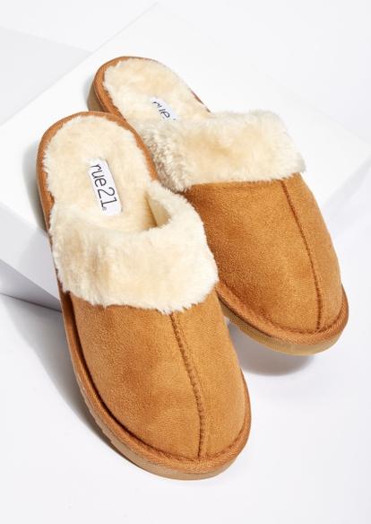 tan faux fur slipper - Main Image