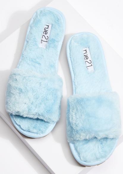 light blue faux fur lug sole slippers - Main Image