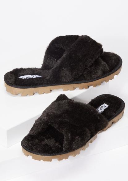 black faux fur x strap lug sole slippers - Main Image
