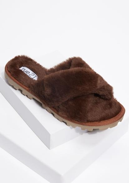 dark brown faux fur x strap lug sole slippers - Main Image