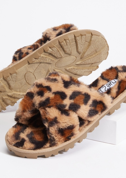 leopard print faux fur x strap lug sole slippers - Main Image