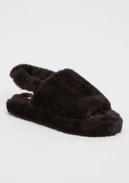 black single ankle strap faux fur slippers - Main Image