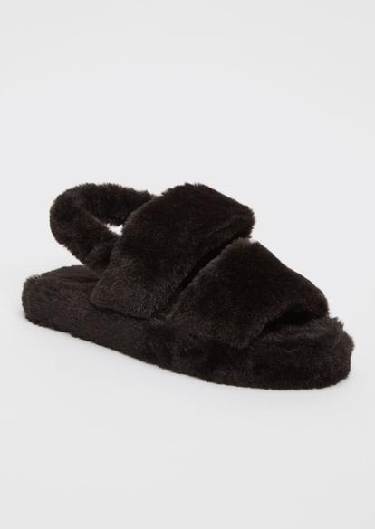black double strap faux fur slippers - Main Image