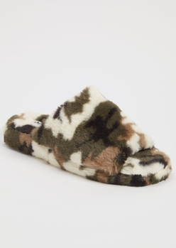 camo print faux fur single band slippers - Main Image
