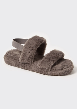 gray faux fur double strap slippers - Main Image
