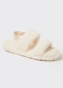ivory faux fur double strap slippers - Main Image