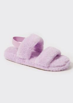 lavender faux fur double strap slippers - Main Image