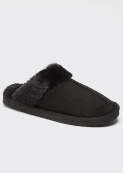 black faux fur lined cozy slippers - Main Image