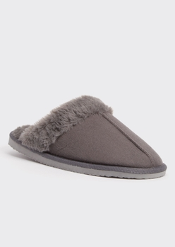 gray faux fur lined cozy slippers - Main Image