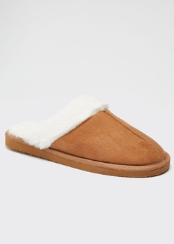 camel faux fur lined cozy slippers - Main Image