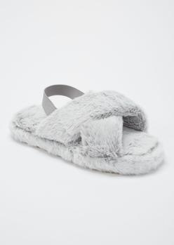 gray fuzzy crisscross band slingback slippers - Main Image