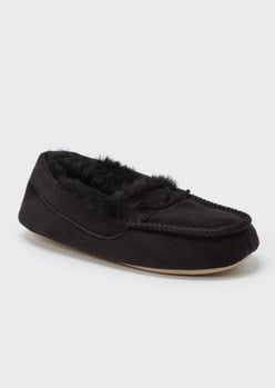 black faux fur lined moccasin slippers - Main Image