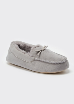 gray faux fur lined moccasin slippers - Main Image