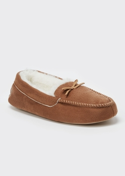 camel faux fur lined moccasin slippers - Main Image