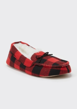red buffalo plaid faux fur lined moccasin slippers - Main Image