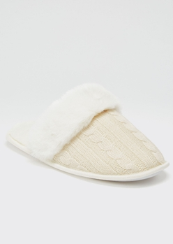 ivory cable knit fluffy slippers - Main Image