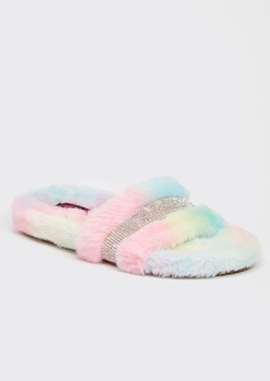pastel faux fur rhinestone striped slide slippers - Main Image