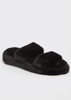 black faux fur double band slide slippers - Main Image