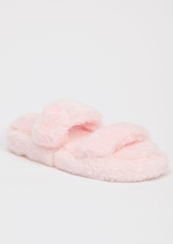 pink faux fur double band slide slippers - Main Image