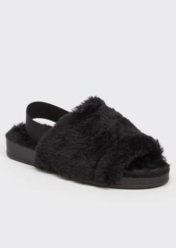 black faux fur slingback slippers - Main Image