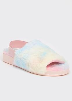 pastel tie dye print faux fur slingback slippers - Main Image