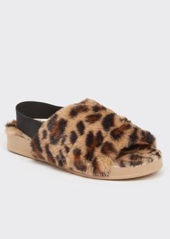 cheetah print faux fur slingback slippers - Main Image