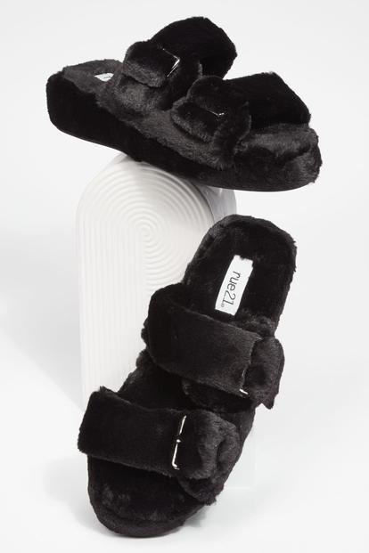 black platform faux fur double buckled strap slide sandals - Main Image