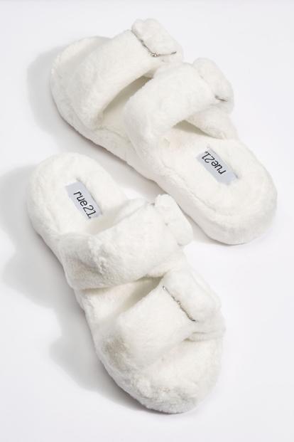 ivory platform faux fur double buckled strap slide sandals - Main Image