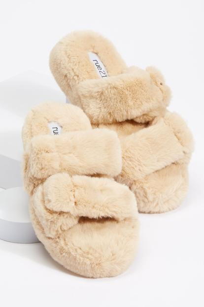 tan platform faux fur double buckled strap slide sandals - Main Image