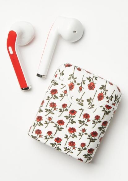 white rose print truebuds wireless earbuds - Main Image
