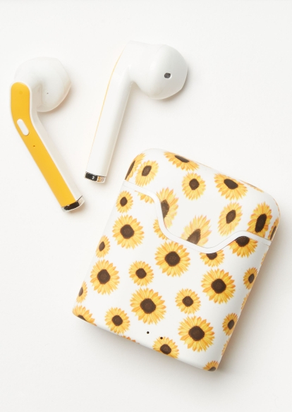 white sunflower print truebuds wireless earbuds - Main Image