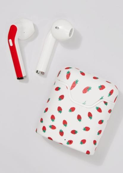 white strawberry print truebuds wireless earbuds - Main Image