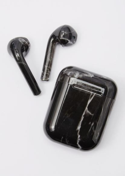 black marble print truebuds wireless earbuds - Main Image