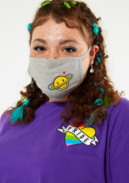 gray smiley rainbow planet embroidered face mask - Main Image