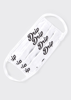 white drip scripted print face mask - Main Image