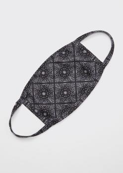 black bandana print face mask - Main Image