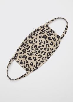 beige leopard print face mask - Main Image