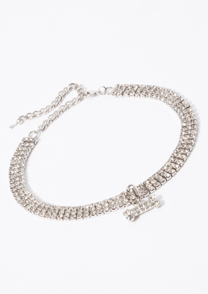 rhinestone bone charm pet collar - Main Image