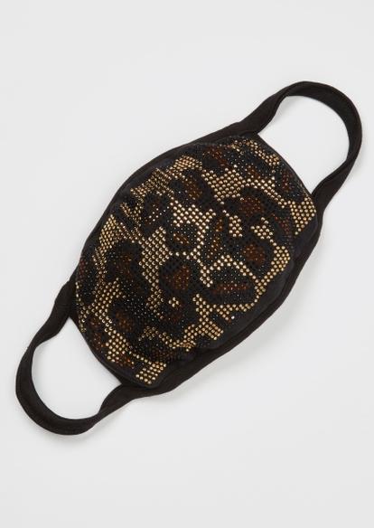 leopard print beaded face mask - Main Image